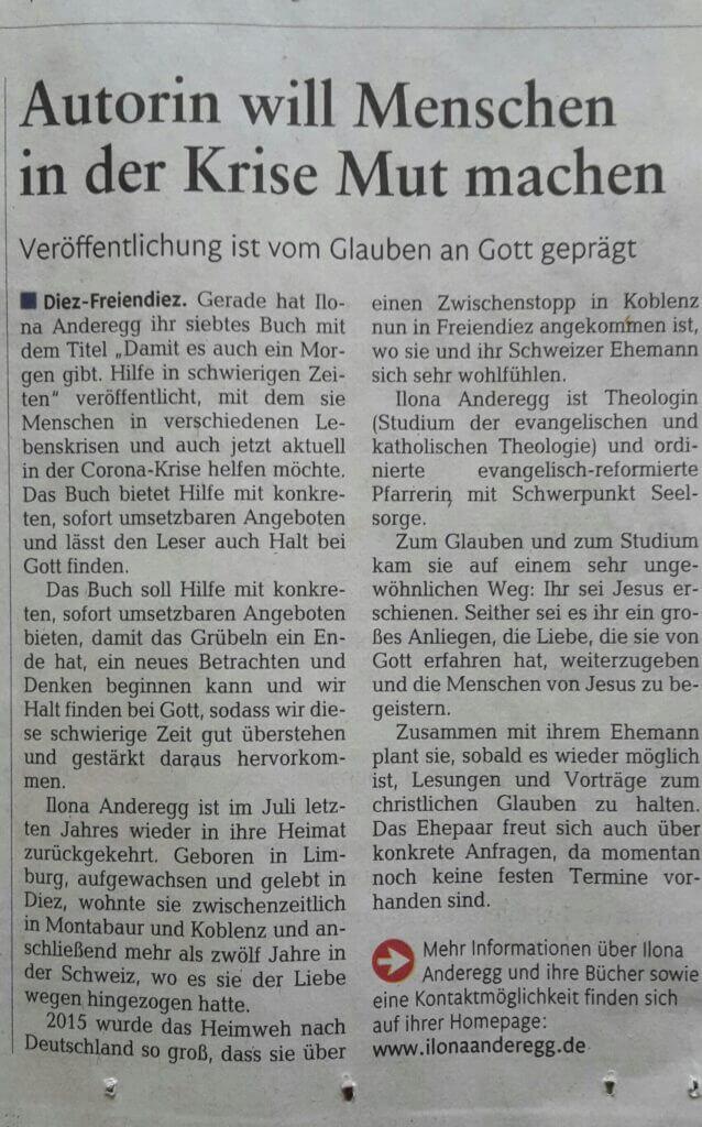 Rhein-Zeitung Artikel Autorin will Menschen in der Krise Mut machen